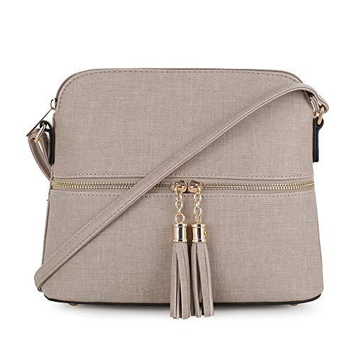 SG SUGU Lightweight Medium Dome Crossbody Bag with Tassel | Denim Inspired Texture PU Leather | Taupe