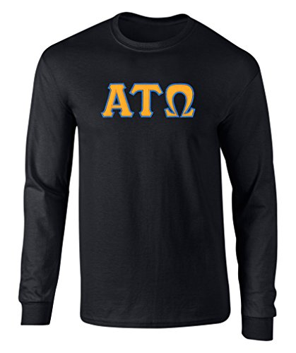 Fashion Greek Alpha Tau Omega Twill Letter Long Sleeve Tee Black Gold (Tau Greek Letter)
