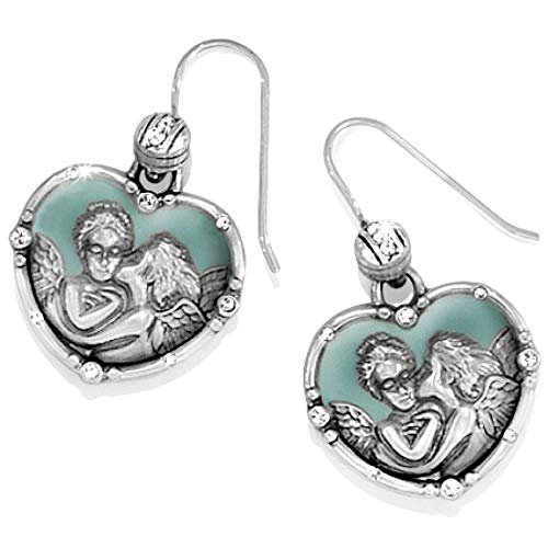 Brighton Divine Enamel Angel French Wire Earrings Silver Plated Swarovski Crystal ()