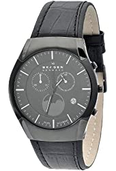 Skagen Men's 901XLBLB Black Label All Black, Leather Banc Watch