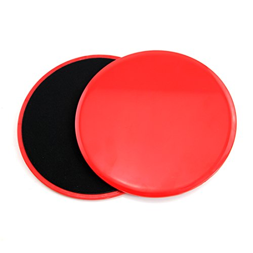 Dual Sided Gliding Discs Core Workout Exercise Sliders that Strengthen and Tones Your Whole Body Abdominal Exercise Equipment (Red)