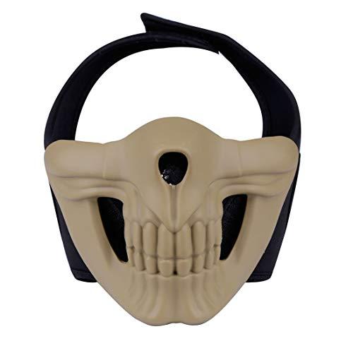 Goshfun Half Face Mask, Skull Protective Mask for Halloween Cosplay CS Outdoor Airsoft Paintball, Tan -