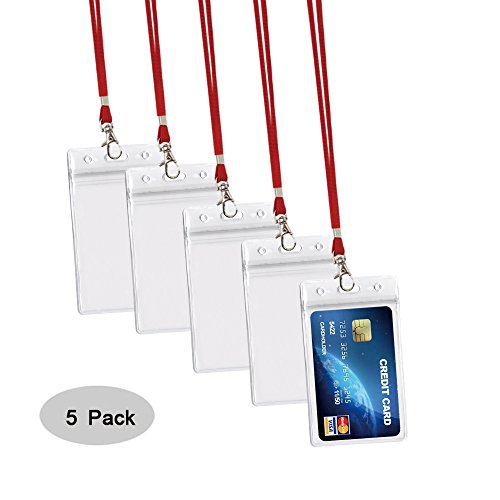 Red 5 Business Card - 5Pack ID Card Badge Holder with Heavy Duty Red Lanyard for Key, ID Card, Name Tag, Credit Card, Business Card, Access Card Holder by Ahobson