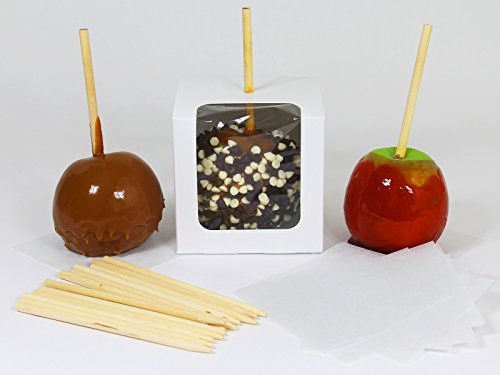 Candy Apple Boxes with Sticks and Parchment Squares. 4x4x4 Caramel or Candied Apple Gift Boxes with Clear Window. Packaging Set Includes 10 Boxes, Sticks and Parchment Squares. White (10, White) by Saybrook Products