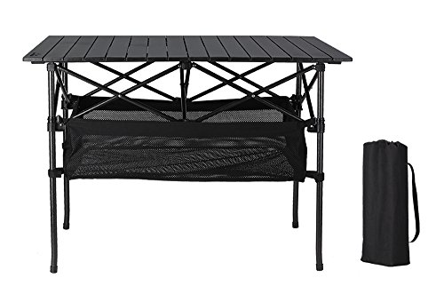 Folinstall Portable Adjustable Lighweight Aluminum Folding Utility Table with Carrying Bag and Hammock Style Storage Basket-Collapsible Camping Table Supports 154.32 lbs(70kg)