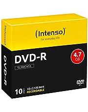 Intenso DVD-R onbewerkte spindel 4,7 GB 1 x 16 x 25 cm spindel cakebox krasbestendig DVD-R 10er Slimcase zwart