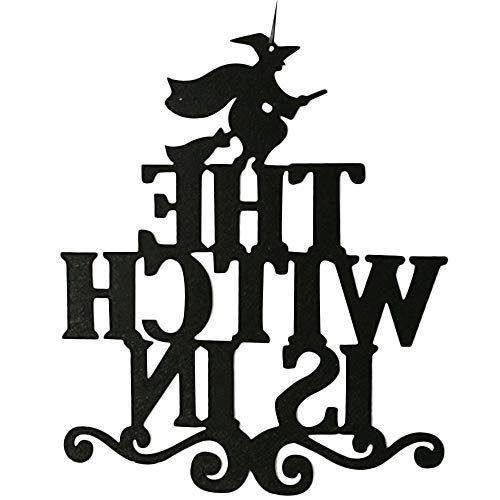 Botrong Halloween Hanging Sign Door Hanging Halloween Decoration (The Witch is in) -