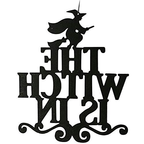 (Botrong Halloween Hanging Sign Door Hanging Halloween Decoration (The Witch is)