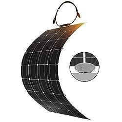 DOKIO 100 Watt 12V/24v Monocrystalline Flexible Lightweight Solar Panel Bendable Solar Charger with MC4 for RV, Boat, Cabin, Tent, Car, Trailer, 12v Battery or Any Other Irregular Surface