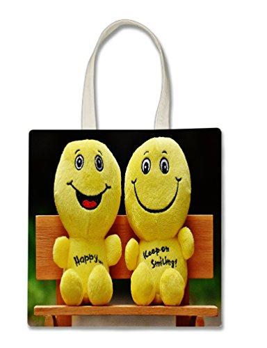 Vinyl Decal Protective Skin Smilies Keep Smiling Printed Design Halloween Trick Or Treat Polyester White Tote Bag 15x16x 3.5