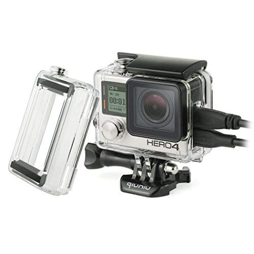 Side Open Protective Skeleton Housing Case with LCD Touch Backdoor and BacPac Backdoor for Extended LCD Screen or Expansion Battery - Compatible with GoPro Hero 4, 3, and 3+ - - 4 Battery Gopro Bacpac Hero