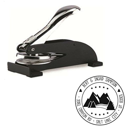 Shiny Custom Mountains Logo Desk Embosser Seal - 1.675