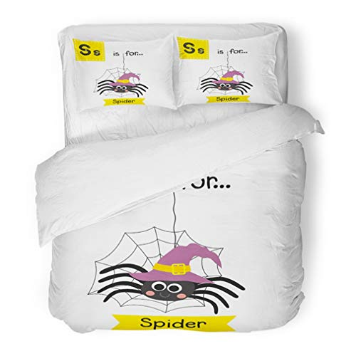 Emvency Bedding Duvet Cover Set Full/Queen (1 Duvet Cover + 2 Pillowcase) Cute Children ABC Alphabet Letter Tracing Flashcard of Spider with Witch Hat Hotel Quality Wrinkle and Stain -