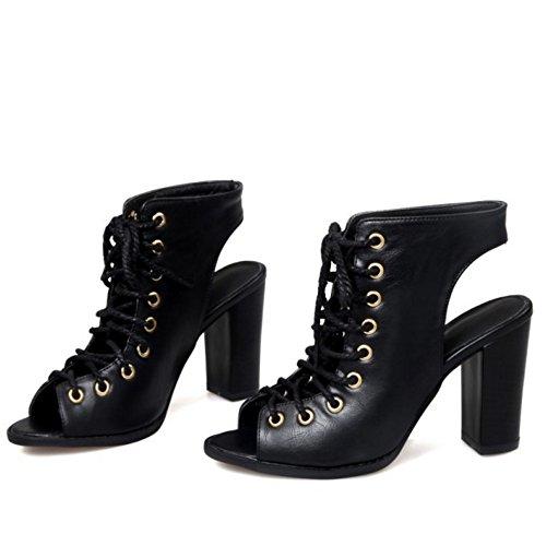 RAZAMAZA Mujer Moda Cordones Tac¨®n Ancho Sandalias Gladiator Peep Toe Zapatos Negro