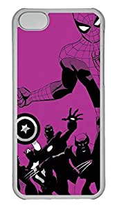 Creative GOOD 5C Case, iPhone 5C Case, Personalized Hard PC Clear Shoockproof Protective Case Cover for New Apple iPhone 5C - Purple Super Man Heros