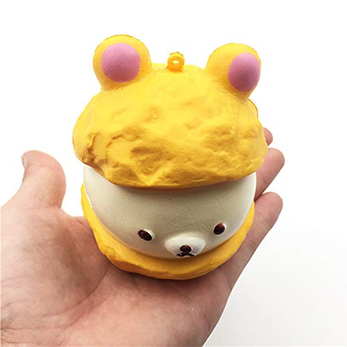 Squishy Puff Cake Toys Slow Rising Cream Scented Kawaii Squishies Soft Food Key chain Decoration Toys for Backpack Phone (White)