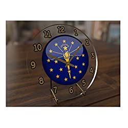 FanPlastic States and Territories of The USA Desktop/Shelf Clocks - Brand New and Unique Circular State Flag Designs - Size 7 X 7 X 2 !! (Indiana Flag Desktop Clock)