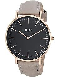 Cluse Womens La Boheme 38mm Grey Leather Band Metal Case Quartz Black Dial Analog Watch CL18018