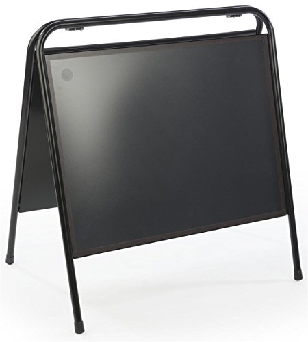 Displays2go Sidewalk Sandwich Board Sign Holder, 24 x 18-Inches, Portable, Magnetic Lens Black Steel (MNSGN2418)