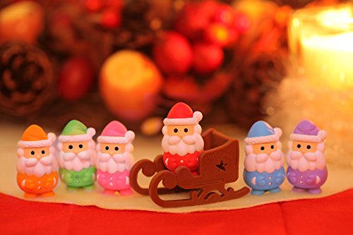 Iwako Santa Claus & Sleigh Japanese Erasers (7 pieces) from Japan