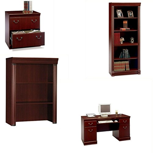 Bush Furniture Birmingham 2 Drawer Lateral File Cabinet with Executive Hutch with 5 Shelf Wood Bookcase with Executive Credenza, Harvest Cherry - Executive 2 Drawer Lateral File