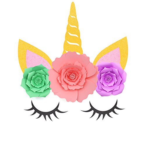 Yaaaaasss! Unicorn Backdrop Party Wall Decorations Large Horn Ears Eyelashes Face Birthday Party Flower Set (Gold Unicorn)