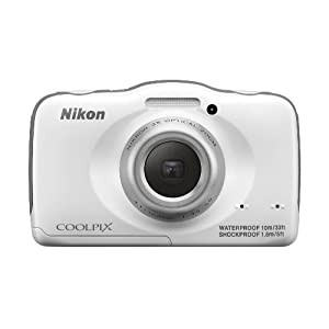 Nikon COOLPIX S32 13.2 MP Waterproof Digital Camera with Full HD 1080p Video (White) (Discontinued by Manufacturer)