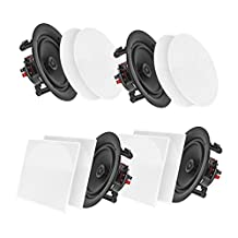 Pyle Surround Wall / Ceiling Home Speaker, Set of 4, White (PDICBT256)