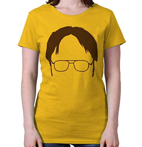 Brisco Brands Dwight Office Silohuette Funny TV Show Ladies T-Shirt -