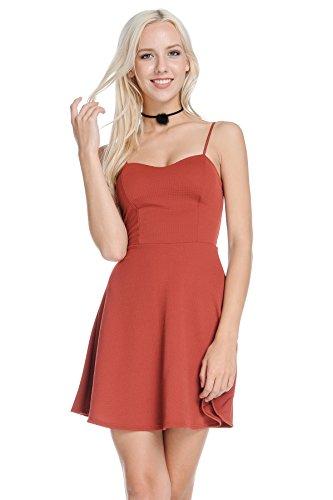 Nbu Womens Solid Textured A Line Skater Cami Sleeveless Dress  Medium  Rust