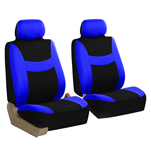 FH GROUP FH-FB030102 Light & Breezy Blue/Black Cloth Seat Cover Set Airbag & Split Ready- Fit Most Car, Truck, Suv, or Van