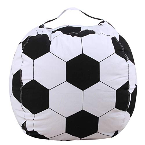 - Evoio Stuffed Animal Bean Bag Storage Family Large Kids' Toy Organizer & Comfortable Ball Bean Bag Chair Multipurpose Storage Bag 100% Cotton Premium Canvas (Soccer, 38 inch)