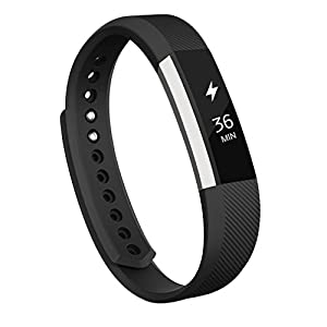 AK Fitbit Alta Bands, Replacement with Metal Clasp, Large, Black
