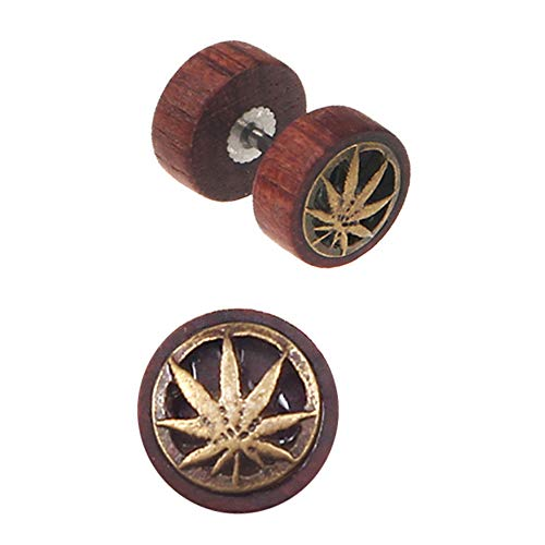 Marijuana Leaf Wood Cheater Fake Ear Plugs Gauges Illusion Screw Stud Earrings for Men and Women, - Leaf Plug Pot