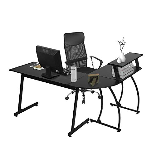 Office Table 3 Shelf (GreenForest L Shaped Computer Gaming Desk with Bookshelf, Corner Office Desk for Small Spaces Home Office, Laptop Study Writing Table, 3 Piece, Black)