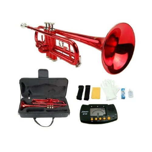 MERANO RED LACQUER PLATED TRUMPET WITH CASE + FREE METRO TUNER