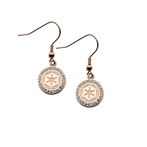 Star Wars Jewelry Imperial Symbol Rose Gold-Plated with Cubic Zirconia Dangle Earrings (SALES1SWMD)