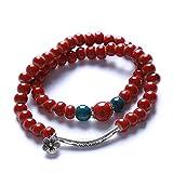 Iumer Women Adjustable Ceramic Beads Bracelet Bangle Chinese Style Jewelry Gift,Flower glaze red