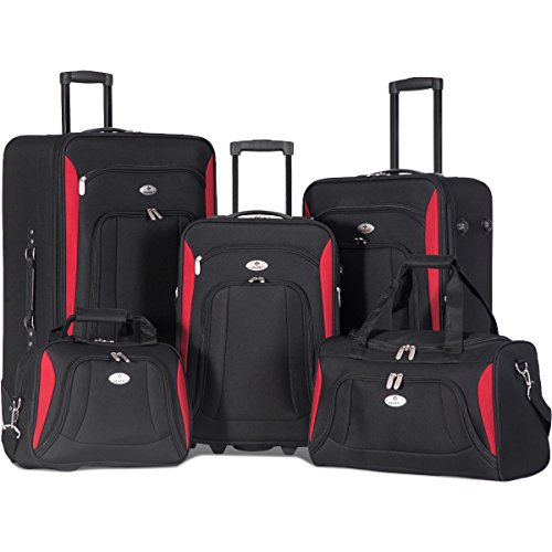 Merax Newest 5 Piece Luggage Set Softshell Deluxe Expandable Rolling Suitcase (Black w/ Red) - Luggage Set Rolling Suitcase