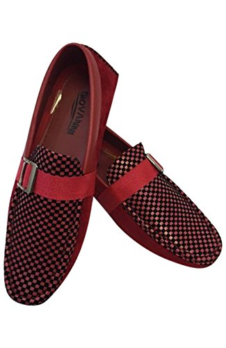 Men's Giovanni Loafer Dress Shoes Italian Style Slip On Suede Red And Black Checkerboard Design M15-3 (8)