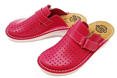 Chaussures Dames BRIL Rosso Dr D52 Cuir Sabots Femme Mules Rose Punto Chaussons en 0SZwPqH