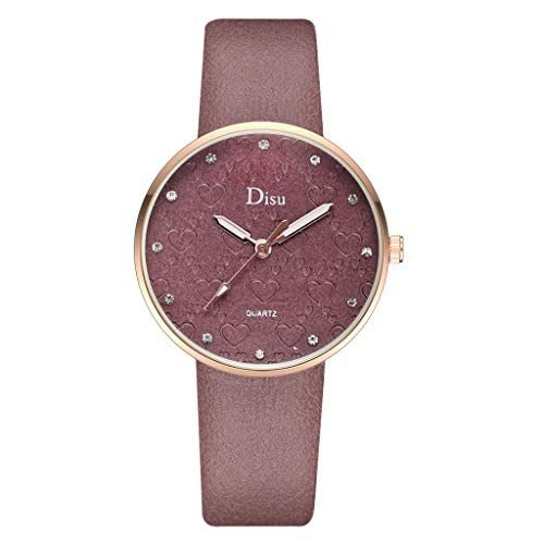 Wrist Watches for Women Under 5 ❤ Fashion Lady Frosted Dial Heart Shape Pattern Leather Belt Watch Quartz Watch