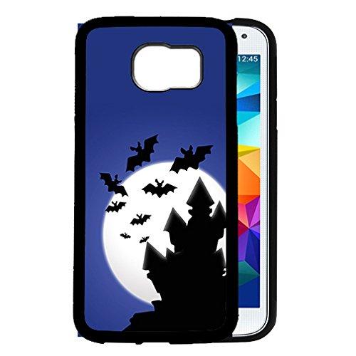 Halloween Theme Haunted House Bats Flying Night Sky Moon Samsung GALAXY S6 (SM-G920) Rubber TPU Silicone Phone (Halloween Haunted House Themes)