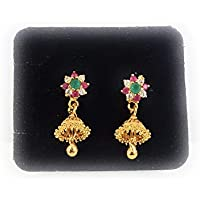 AFJ GOLD 1 Gram Micro Gold Plated Traditional Party Wear Stone Hanging Stud Small Size Earring for Girls