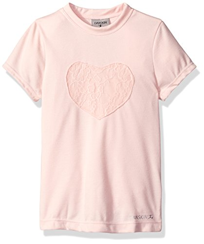 Pink Girls Cap Sleeve T-shirt (Danskin Big Girls' Lace Heart T-Shirt, Petal Pink, Large)