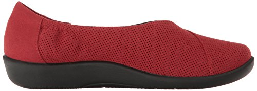 Clarks Women's Sillian Jetay Flat, Burgundy Synthetic Nubuck, 6 M US Red Perfed Microfiber