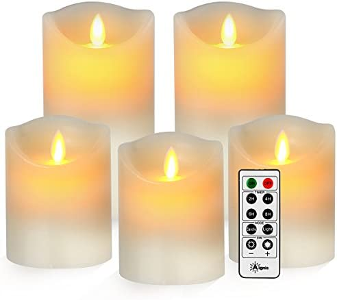 Flameless Candles, Battery Candles Realistic Moving Flame Set of 5 D3.25 xH44466 Flickering Candles with 10 Key Remote Timer by Aignis Ivory