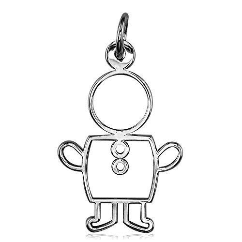 Large Cookie Cutter Boy Charm for Mom, Grandma in Sterling Silver (Charm Cutter Cookie)