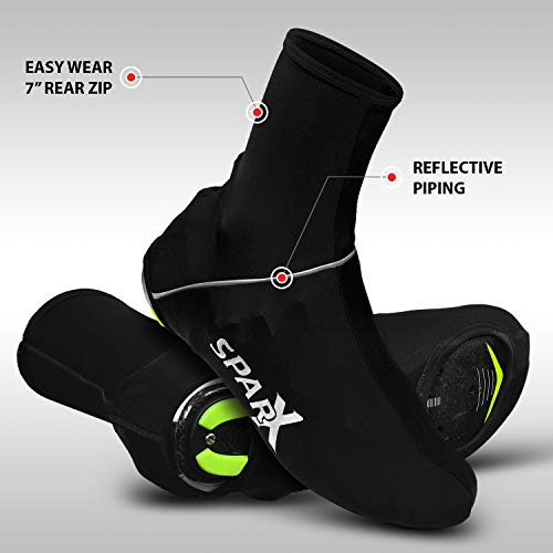 Sparx Lycra Cycling Bicycle Shoe Cover Booties Overshoes with Rear Zipper (Black, Medium) ()