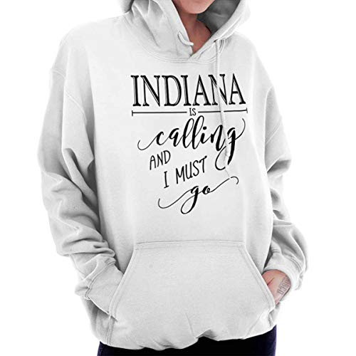 Brisco Brands Indiana is Calling I Must Go Home Womens Shirt State City Cool Fleece Hoodie